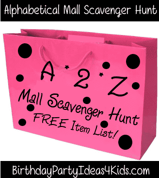 A to Z Mall Scavenger Hunt List