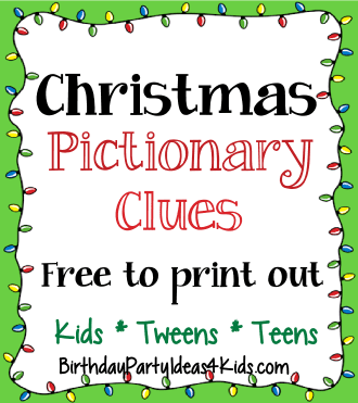 christmas pictionary game clues with free clues