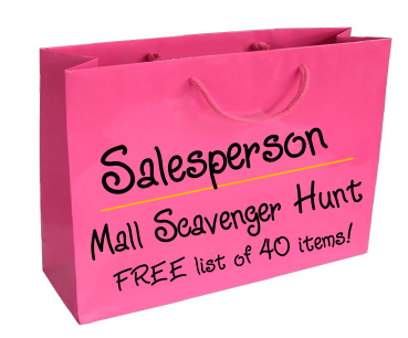 Salesperson Mall Scavenger hunt list