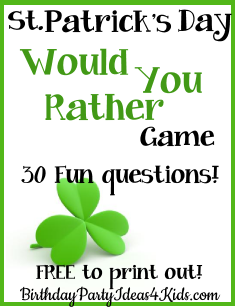 St. Patrick's Day Would You Rather Game