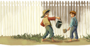 Tom Sawyer Painting a fence