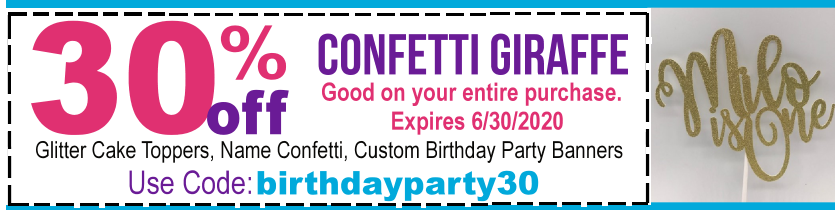 1st birthday party coupon
