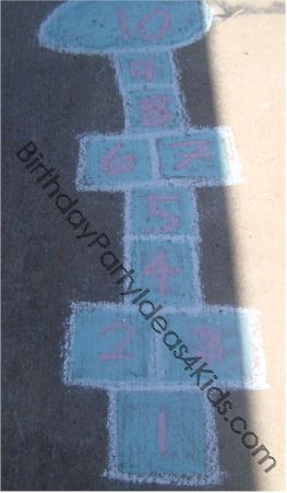 Hopscotch board made with sidewalk chalk