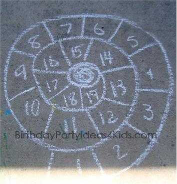 Snail Hopscotch with sidewalk chalk