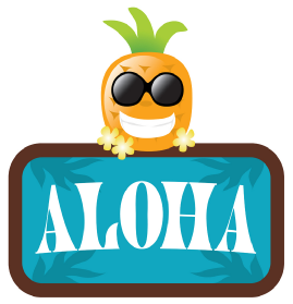 Luau Aloha sign with a smiling pineapple in sunglasses