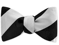 Little Man bow tie with black and white stripes