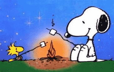Snoopy and Woodstock camping with a fire roasting marshmallows