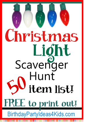 Christmas light scavenger hunt list with free list of 50 items to find