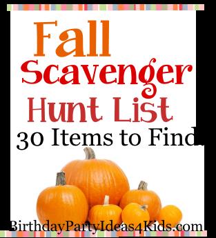 Treasure Hunt List >> Fall Scavenger Hunt List | Birthday Party Ideas 4 Kids