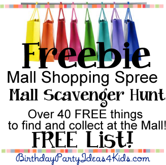 Freebie Mall Shopping Spree List For Mall Scavenger Hunt