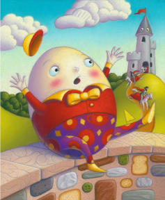 Humpty Dumpty falling off a wall