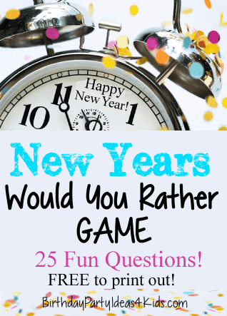 New Years Would You Rather Game 25 Free Questions