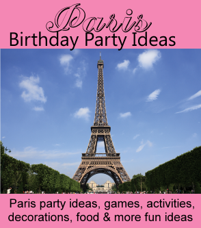 Eiffel Tower Party Decorations Ideas from birthdaypartyideas4kids.com