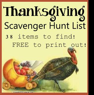 Thanksgiving Scavenger Hunt Item List