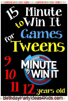 Tween Minute To Win It Games