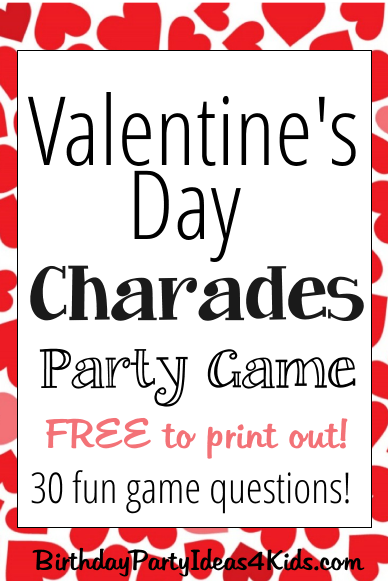 Valentine's Day Charades Game with free questions