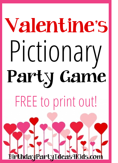 Valentine's Day Pictionary game and clues