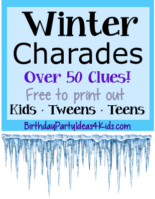 Winter Charades with Free Clues