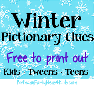 photo relating to Printable Pictionary Cards called Winter season Pictionary Match Cost-free printable activity clues